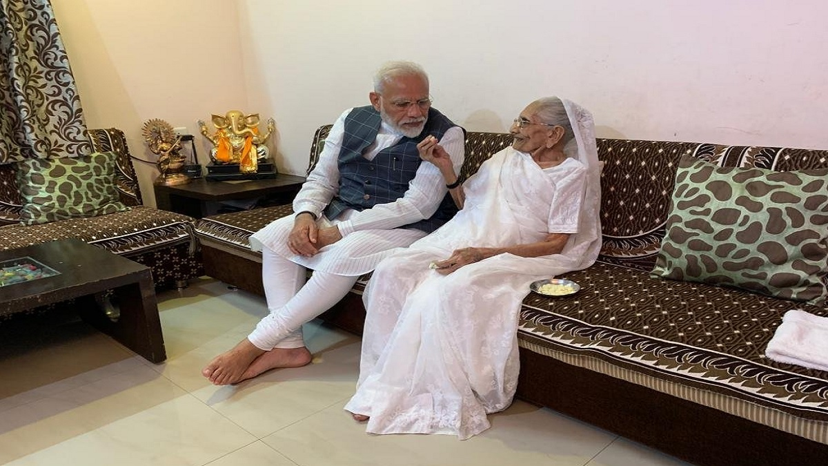 PM Modi with his mother in Gujarat