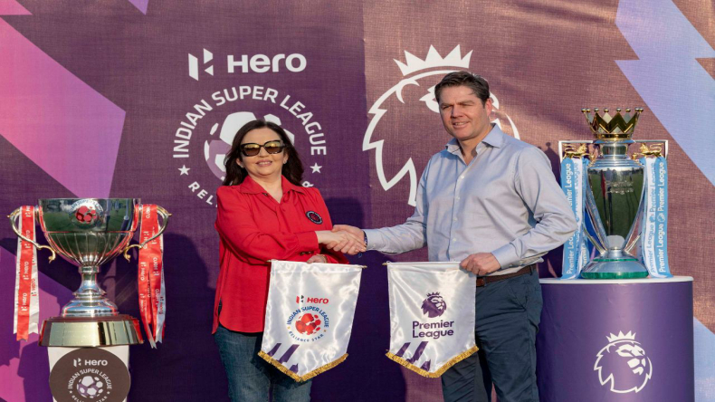 Nita Ambani, the chairperson of Football Sports Development Ltd, with Premier League chief executive  Richard Masters exchanging pennants as part of ISL-PL partnership agreement signed on Friday.