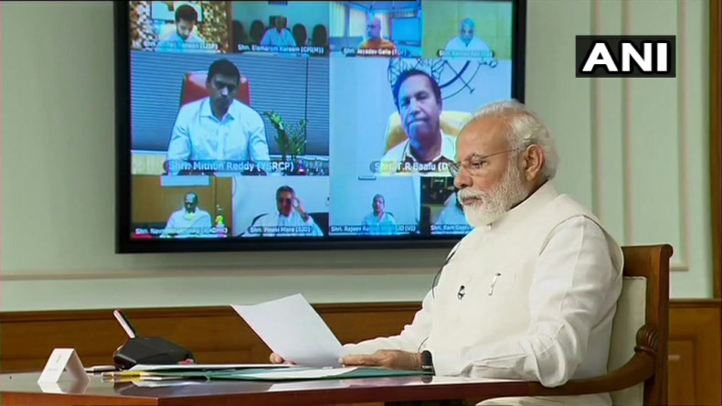 PM Narendra Modi during the video conferencing with all-party leaders
