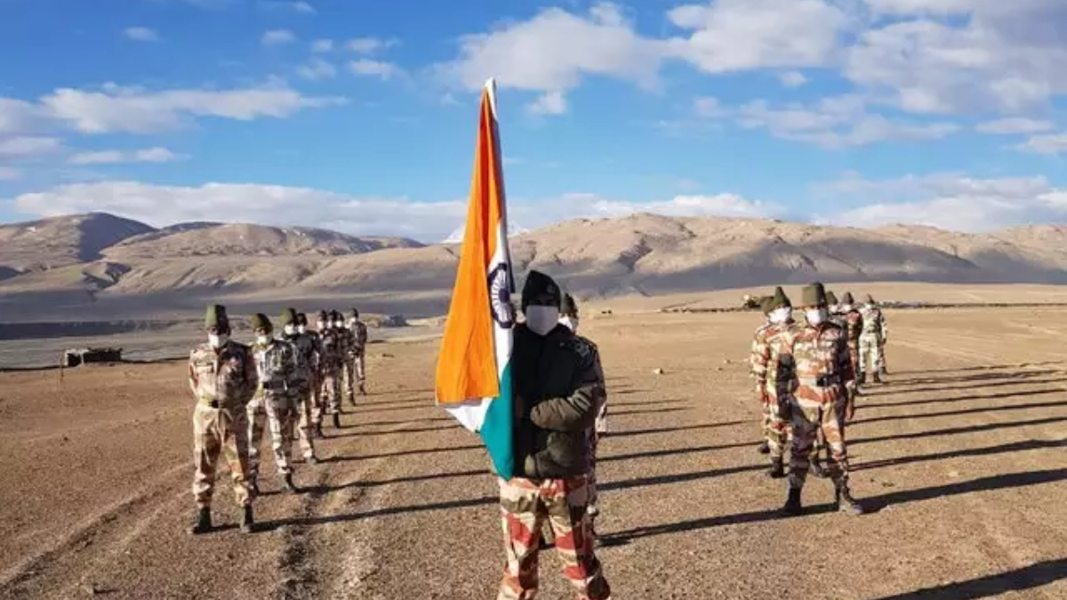 ITBP personnel celebrate 75th Independence Day at banks of Pangong Tso in Ladakh