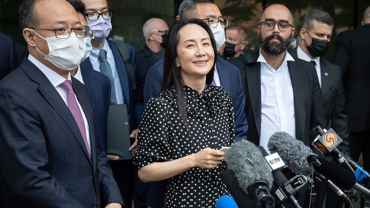 Meng Wanzhou speaking to the press after accepting the plea deal by the US Justice Department.